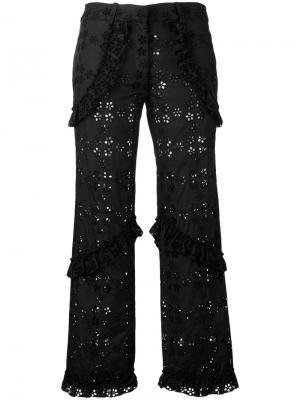 Укороченные брюки с вышивкой Simone Rocha. Цвет: чёрный
