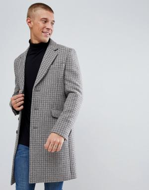 ASOS Шерстяное пальто в клетку. Цвет: коричневый