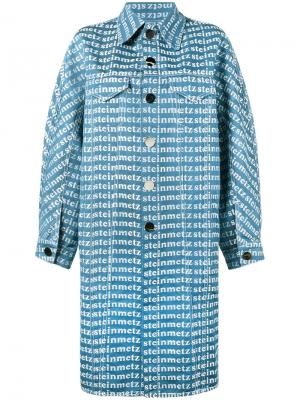 Джинсовое пальто с принтом-логотипом Faustine Steinmetz. Цвет: синий