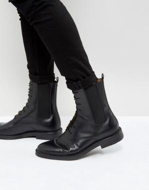 Zign Черные кожаные ботинки со шнуровкой. Цвет: черный