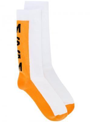 Носки с логотипом MSGM. Цвет: жёлтый и оранжевый
