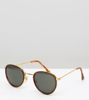 Reclaimed Vintage Круглые солнцезащитные очки в золотистой оправе Insp. Цвет: коричневый