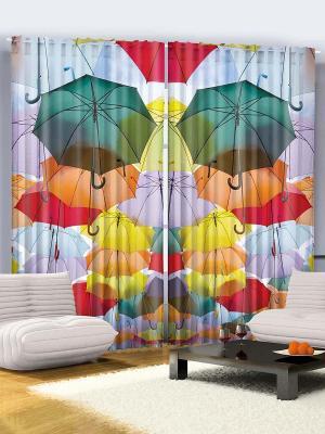 Комплект фотоштор для гостиной Цветные зонтики, плотность ткани 175 г/кв.м, 290*265 см Magic Lady. Цвет: зеленый, голубой, оранжевый, желтый