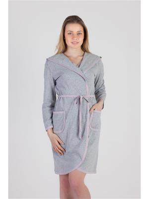 Халат с капюшоном Ням-Ням. Цвет: серый меланж, розовый