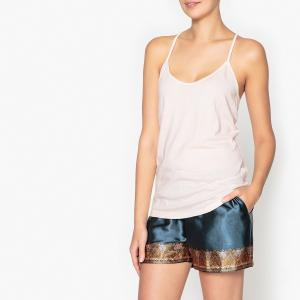 Пижама с шортами и рисунком, кружевной вставкой La Redoute Collections. Цвет: бледно-розовый