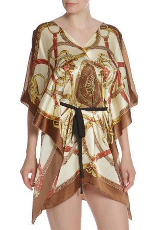 Платье свободного силуэта с коротким рукавом Pinko. Цвет: бежевый, золотой