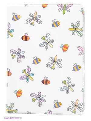Обложка для автодокументов Стрекозы и пчелки Mitya Veselkov. Цвет: белый, зеленый, розовый