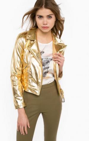 Куртка косуха золотистого цвета Patrizia Pepe. Цвет: золотистый