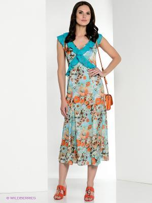 Платье Yulia Dushina. Цвет: голубой, оранжевый