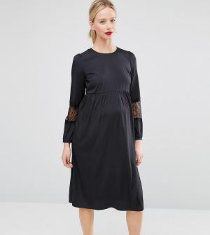 ASOS Maternity Платье миди для беременных с длинными рукавами. Цвет: темно-синий