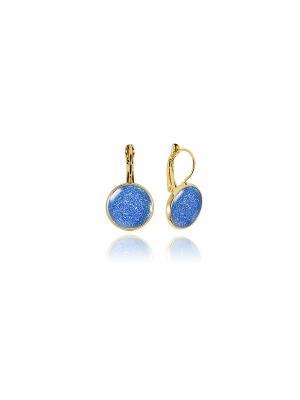 Серьги Синие с блестками в золоте Dragon Porter. Цвет: синий