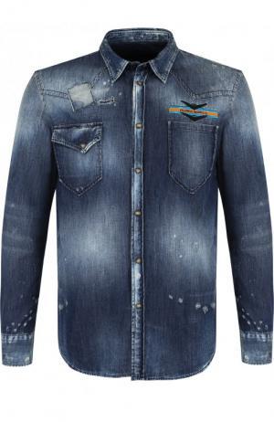 Джинсовая рубашка на кнопках с потертостями Frankie Morello. Цвет: синий