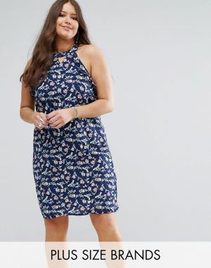Koko Свободное платье с оборками Plus. Цвет: серый