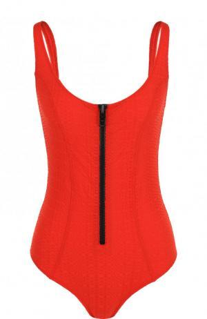 Слитный купальник с открытой спиной Lisa Marie Fernandez. Цвет: красный
