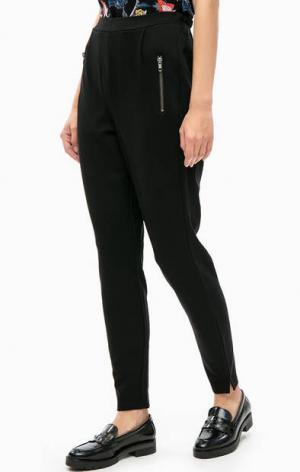 Укороченные черные брюки с высокой посадкой LERROS. Цвет: черный