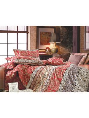 Комплект постельного белья ЕВРО сатин, рисунок 682 LA NOCHE DEL AMOR. Цвет: красный