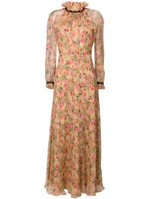 Длинное платье с цветами Vilshenko. Цвет: многоцветный