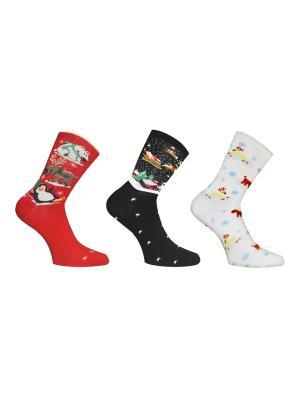 Носки 3 пары Master Socks. Цвет: красный, черный, молочный