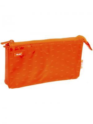 Пенал-косметичка 215*120*30 Look 2, 5 отделений, ПВХ Milan. Цвет: оранжевый