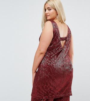 Elvi Платье-футляр с пайетками и V-образным вырезом на спине. Цвет: красный