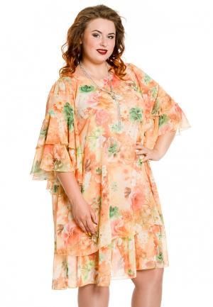 Платье Luxury Plus. Цвет: оранжевый