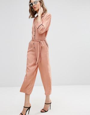 ASOS Комбинезон с широкими штанинами и контрастной окантовкой. Цвет: серый