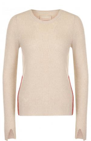 Кашемировый пуловер с круглым вырезом Zadig&Voltaire. Цвет: бежевый