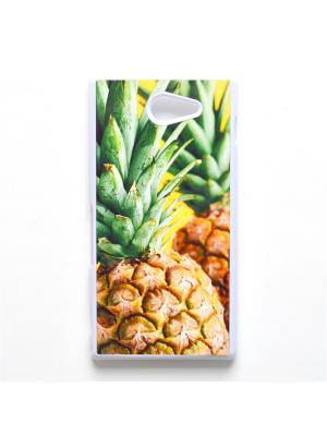 Чехол для Sony Xperia M2 Ананас Boom Case. Цвет: светло-зеленый, светло-желтый
