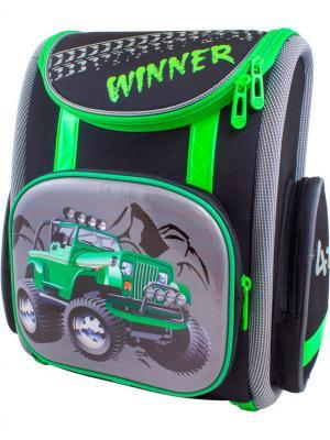 Ранец Winner 1001. Цвет: черный, зеленый, серый
