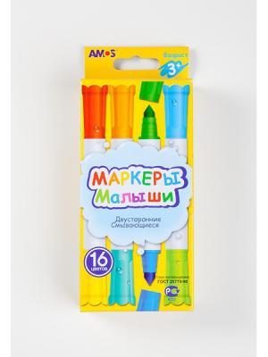 Набор двухсторонних маркеров МАЛЫШИ16 цветов AMOS. Цвет: зеленый