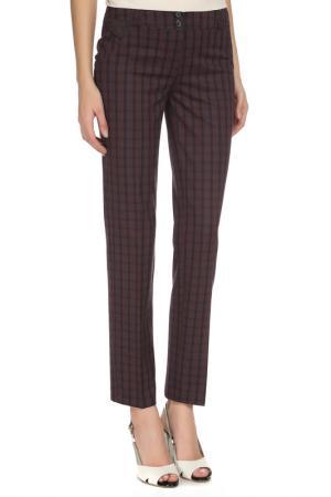 Прямые брюки с поясом на шлевках YARMINA. Цвет: клетка - бордовый