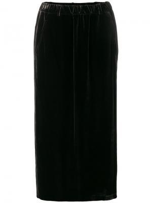 Прямая бархатная юбка Aspesi. Цвет: чёрный
