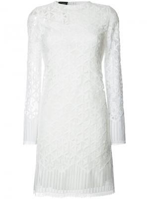Платье с вышивкой Akris. Цвет: белый