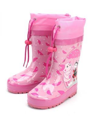 Резиновые сапоги El tempo. Цвет: розовый
