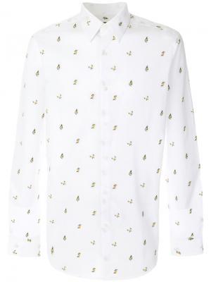 Рубашка в бабочки Fendi. Цвет: белый