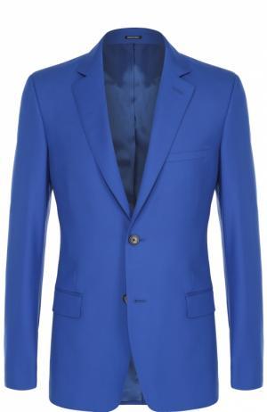 Шерстяной приталенный пиджак Alexander McQueen. Цвет: синий
