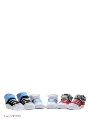 Носки, 3 пары Luvable Friends. Цвет: голубой, красный, белый, черный