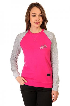 Толстовка свитшот женская  Script Logo 3v Crewneck Crimson/Grey Melange Skills. Цвет: серый,розовый