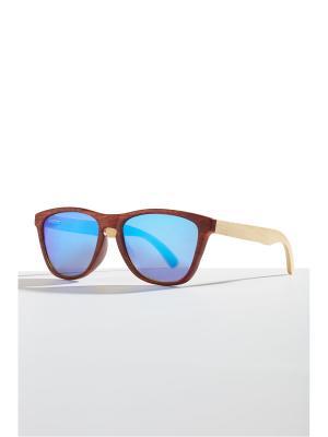 Бамбуковые очки Кюрасао Nothing but Love. Цвет: терракотовый, голубой, светло-желтый
