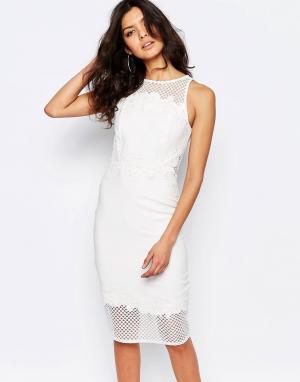 River Island Платье-футляр с сеточкой и аппликацией Premium. Цвет: белый