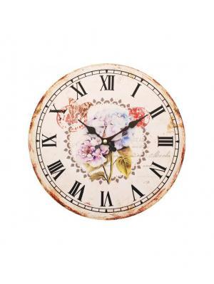 Часы настенные Садовые цветы, диаметр 34 см (123-CL ) Белоснежка. Цвет: кремовый, антрацитовый, бледно-розовый