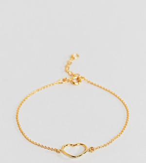 ASOS Позолоченный серебряный браслет-цепочка с сердечком. Цвет: золотой