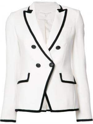 Двубортный пиджак с контрастной окантовкой Veronica Beard. Цвет: белый
