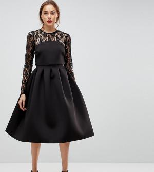 ASOS Tall Кружевное платье для выпускного с длинными рукавами. Цвет: черный