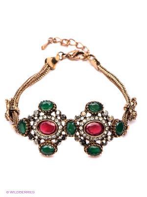 Браслет Happy Garnets. Цвет: золотистый, зеленый, красный