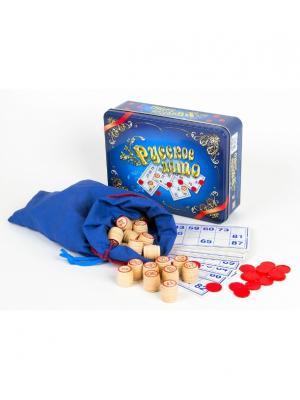 Лото Русское (жестяная коробка синяя) Десятое королевство. Цвет: синий, желтый, красный