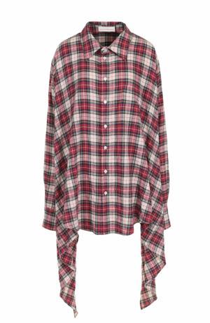 Хлопковая блуза асимметричного кроя в клетку Faith Connexion. Цвет: разноцветный