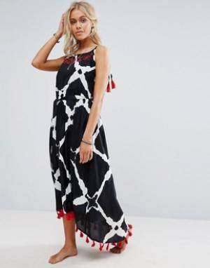 Anmol Пляжное платье миди с отделкой на плечах и принтом. Цвет: черный
