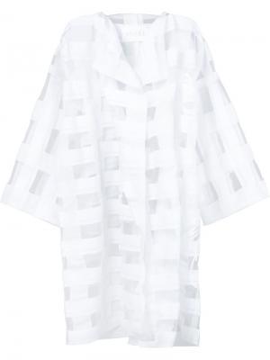 Прозрачное объемное пальто в клетку Xiao Li. Цвет: белый