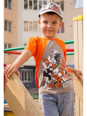 Футболка JERRY JOY. Цвет: оранжевый, серый